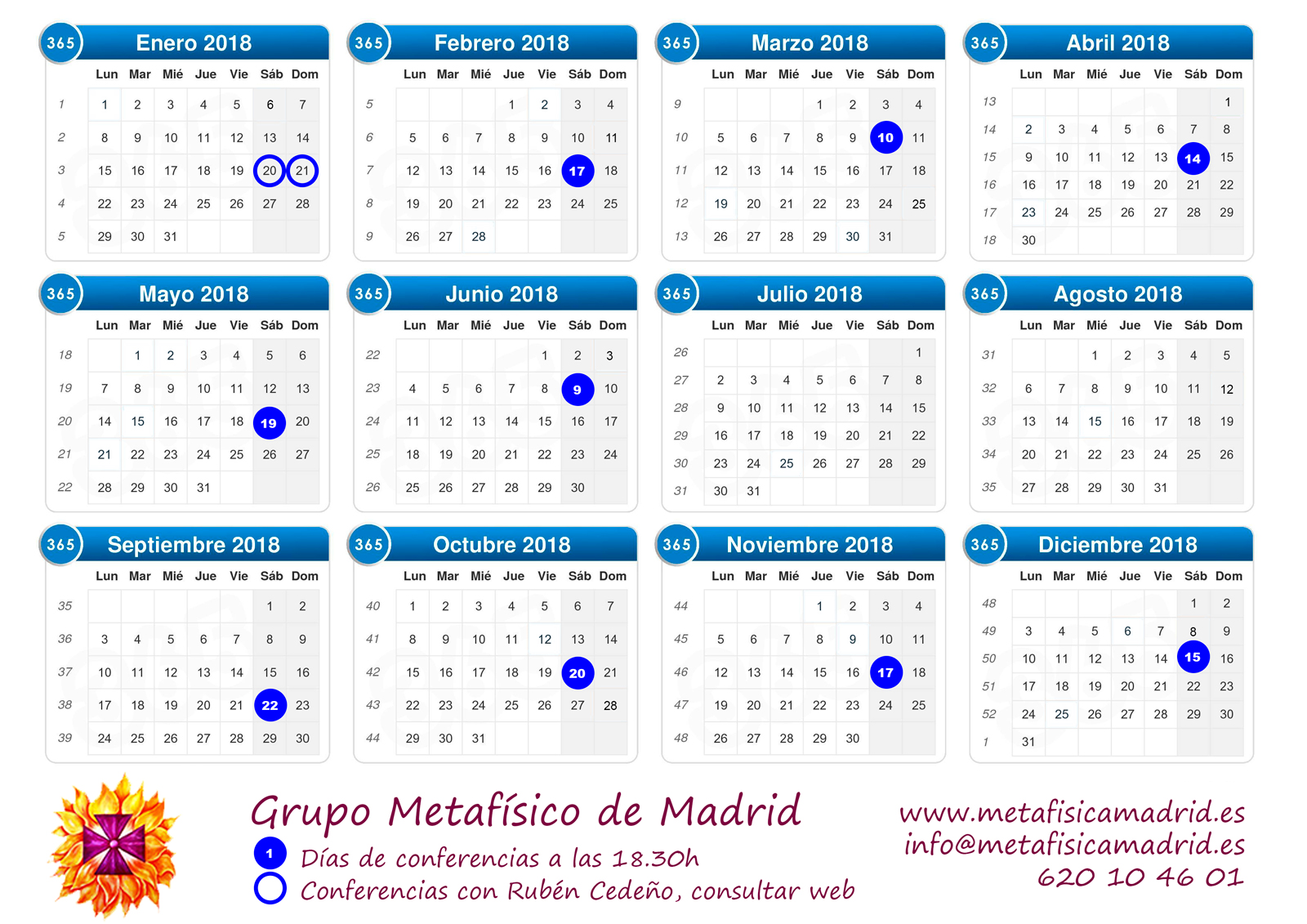 calendario conferencias 2018 grupo metafisico de madrid