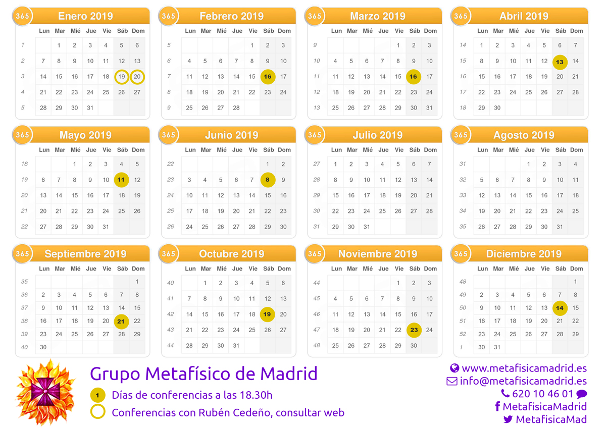 Fechas conferencias 2018 - Grupo Metafísico de Madrid
