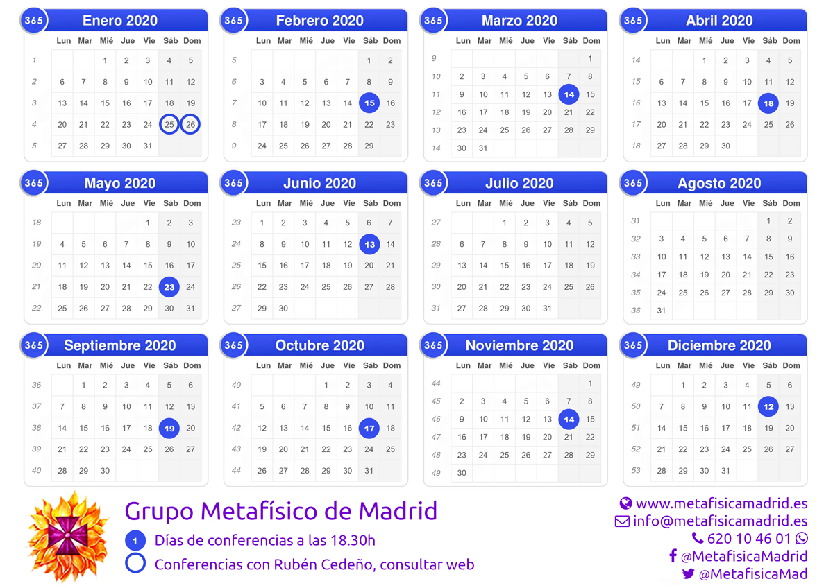 Fechas conferencias 2020- Grupo Metafísico de Madrid